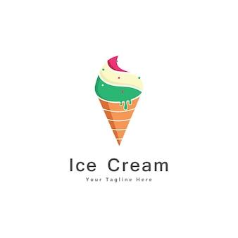 Eiscreme-logo-design-ikonen-vektor