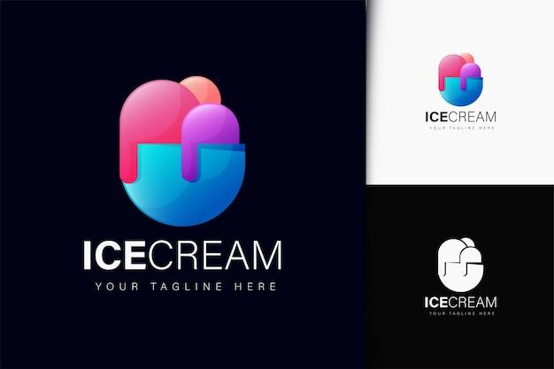 Eiscreme-logo-design mit farbverlauf