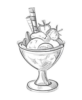Eiscreme mit waffeln und gezeichnetem vektor der erdbeere hand