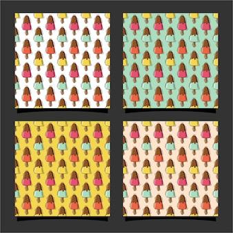 Eiscreme nahtlose muster premium-design0