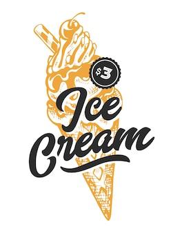 Eiscreme-retro-emblem. logo-vorlage. schwarzer text und gelbe eiscremeskizze. eps10-vektor-illustration.