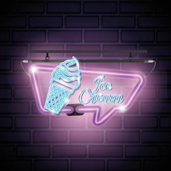 Eiscreme süße neon-label