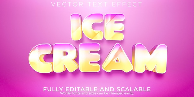 Eiscreme-texteffekt, bearbeitbarer weicher und rosa textstil