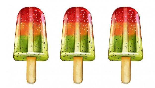 Eiscreme trägt aquarell früchte