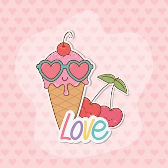 Eiscreme- und kirschaufkleber kawaii art