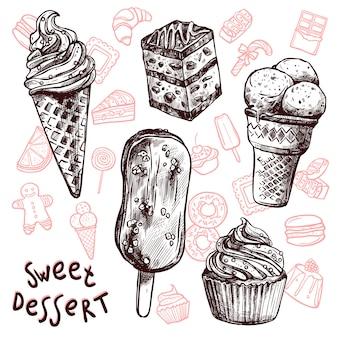 Eiscreme und kuchen skizzensatz