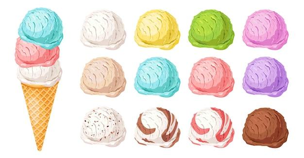Eiscreme verschiedene geschmacksrichtungen vanille erdbeere schokolade leckere sommer dessert vektor-illustration