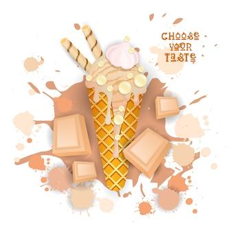 Eiscreme-weiße schokoladen-kegel-bunte nachtisch-ikone wählen ihr geschmacks-café-plakat
