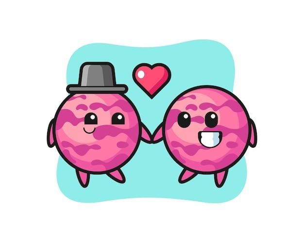 Eiscremeschaufel-cartoon-charakterpaar mit verliebtheitsgeste, süßem stildesign für t-shirt, aufkleber, logo-element