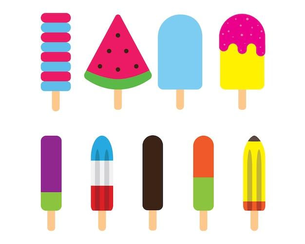 Eiscremestock des bunten eis am stiel des sommers mit design-ikonensymbolsammlung des milch-, schokoladen-, minzen- und gefrorenen fruchtsaftaromas flacher.