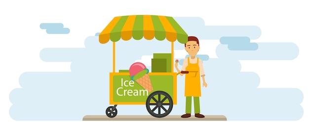 Eiscremeverkäufer auf der im stadtzentrum gelegenen straße