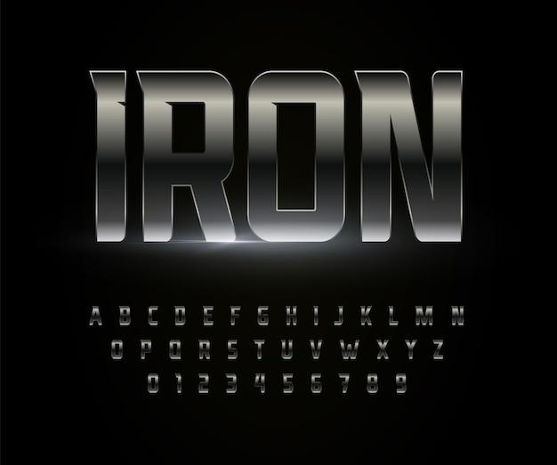 Eisen schriftart alphabet metall stahl chrom buchstaben edelstahl metallic typografie hoch fett stark