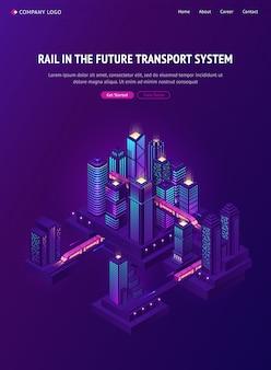 Eisenbahnzug im zukünftigen stadtverkehrssystem