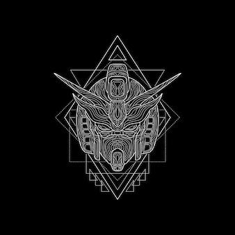 Eiserner roboterkopf heilige geometrie