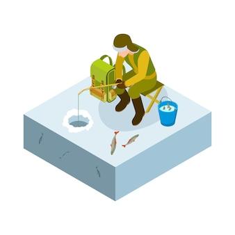 Eisfischen isometrisch. vektormann auf eisfischen, eimer fisch. männliches winterhobby. illustrationsmann, der fischt und fisch fängt