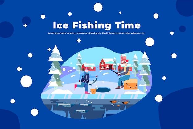 Eisfischen zeit - illustration weihnachten
