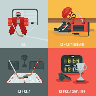 Eishockey icons set