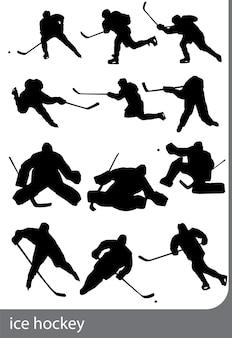 Eishockey-silhouetten auf weißem hintergrund