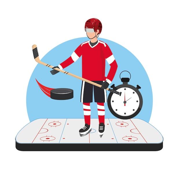 Eishockeyspieler mit professionellem stock und chronometer
