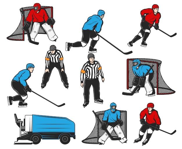 Eishockeyspieler-symbole und sporthallenausrüstung