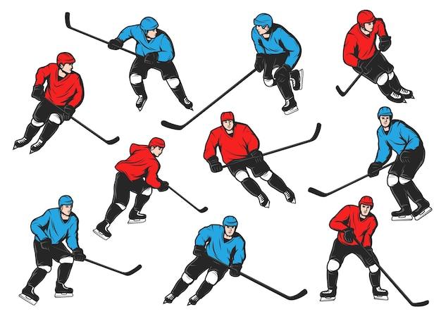 Eishockeysportler mit stöcken, pucks, schlittschuhen. isolierte eishockeyspieler team