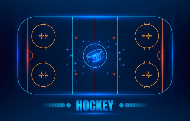 Eishockeystadion. vektorlinie illustration hockey arena mit puck.