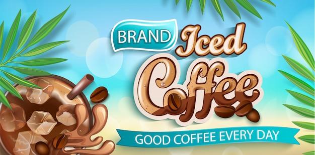 Eiskaffee banner auf bokeh