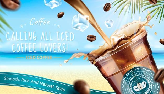 Eiskaffee-banner-fahne mit flüssigkeit, die in die tasse zum mitnehmen auf der resortoberfläche im 3d-stil fließt