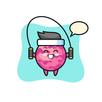Eiskugel-charakter-cartoon mit springseil, süßes design für t-shirt, aufkleber, logo-element