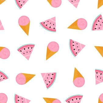 Eiskugel in einem waffelkegel und und einer scheibe wassermelone. sommer nahtlose muster. verwendet für designoberflächen, stoffe, textilien, verpackungspapier, tapeten.