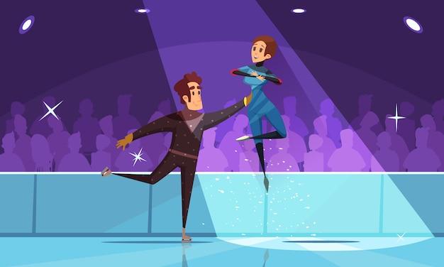 Eiskunstlauf komposition mit wintersport symbole flach