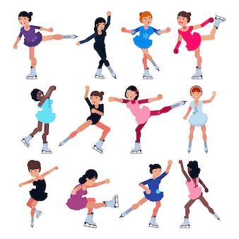 Eiskunstlauf vektor mädchen charakter schlittschuhe auf wettbewerb und professionelle girlie skater illustration set