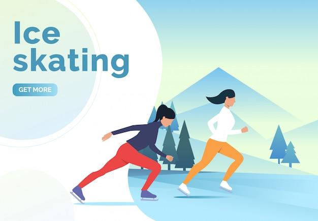 Eislauf schriftzug, skater frauen und schneelandschaft