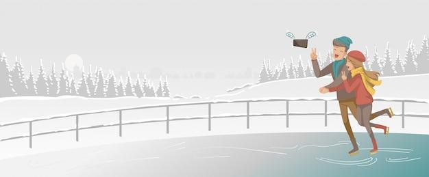 Eislaufen. paare spielen schlittschuh in der eisbahn. liebhaber halten hände.