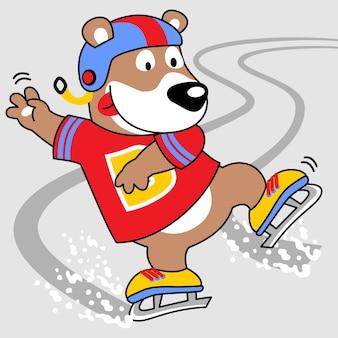 Eislaufen spieler, vektor-cartoon-illustration