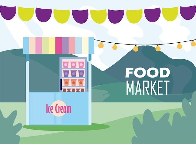 Eismarkt mit bannerwimpelentwurf des ladeneinzelhandelsgeschäfts und kaufen sie themenillustration