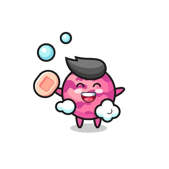 Eisportionierer-charakter badet, während er seife hält, süßes design für t-shirt, aufkleber, logo-element