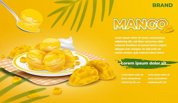 Eiswerbung. mango und eis mit sirup