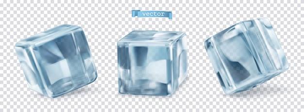 Eiswürfel mit transparent. 3d-vektor realistischer satz von objekten