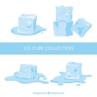 Eiswürfel-sammlung mit flachem design