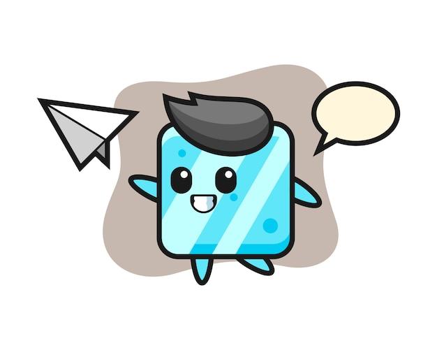 Eiswürfel-zeichentrickfigur, die papierflugzeug wirft
