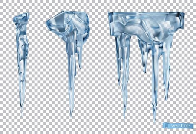Eiszapfen mit transparenzeffekt. eis 3d-vektor realistische objekte