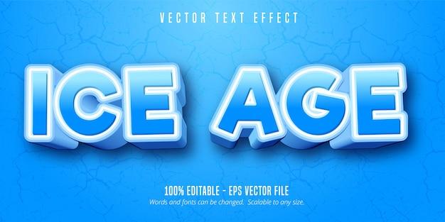 Eiszeittext, bearbeitbarer texteffekt im cartoon-stil