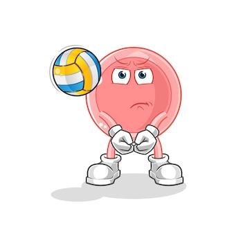 Eizelle spielen volleyball-maskottchen