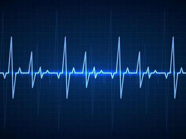 Ekg und blaue sinusförmige pulslinien auf dem monitor mit herzschlagsignal