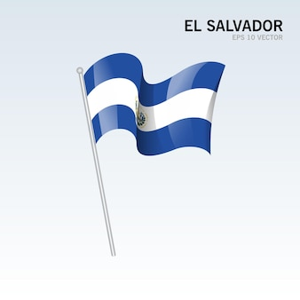 El salvador wehende flagge isoliert auf grau