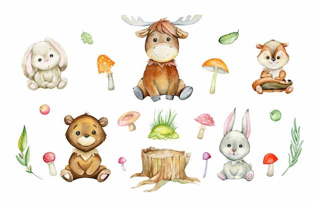 Elch, bär, kaninchen, hase, streifenhörnchen, pilze, pflanzen. aquarell-satz von waldtieren und -pflanzen, im karikaturstil.