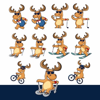 Elch cartoon sport winter