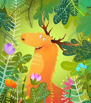 Elche oder elche in üppig grünen wäldern.