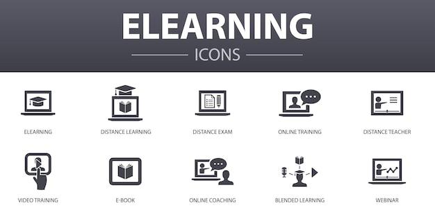 Elearning einfache konzeptikonen eingestellt. enthält symbole wie fernunterricht, online-schulung, videoschulung, webinar und mehr, kann für web, logo, ui/ux verwendet werden